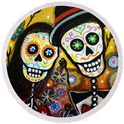 Round Beach Towel featuring the painting Wedding Dia De Los Muertos by Pristine Cartera Turkus