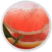 Wedge Of Pink Grapefruit On Slice Of Grapefruit With Leaf Round Beach Towel