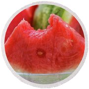 Wedge Of Watermelon, A Bite Taken, In A Glass Bowl Round Beach Towel