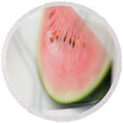 Wedge Of Watermelon On Plate Round Beach Towel