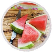 Wedges Of Watermelon And Knife On A Wooden Board Round Beach Towel