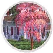 Weeping Cherry By The Veranda Round Beach Towel
