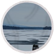 Round Beach Towel featuring the photograph Weirs Beach Nh Almost by Mim White