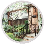 Round Beach Towel featuring the painting Welcome Home by Barbara Jewell