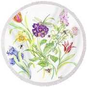 Welcome Spring I Round Beach Towel by Kimberly McSparran