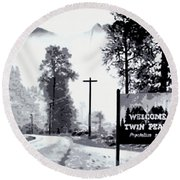 Round Beach Towel featuring the painting Welcome To Twin Peaks by Luis Ludzska
