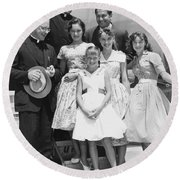 Welk And The Lennon Sisters Round Beach Towel by Underwood Archives