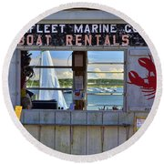 Wellfleet Harbor Thru The Window Round Beach Towel by Allen Beatty