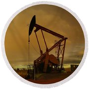 Wellhead At Dusk Round Beach Towel