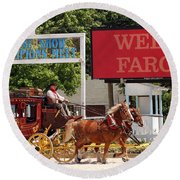 Round Beach Towel featuring the photograph Wells Fargo At Devon by Alice Gipson
