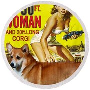 Welsh Corgi Pembroke Art Canvas Print - Attack Of The 50ft Woman Movie Poster Round Beach Towel