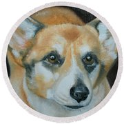 Round Beach Towel featuring the painting Welsh Corgi by Thomas J Herring