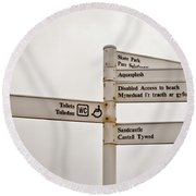 Welsh Signs Round Beach Towel