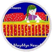 Welsh Snowman Bedtime  Round Beach Towel by Barbara Moignard