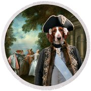 Welsh Springer Spaniel Art Canvas Print Round Beach Towel