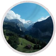 Wengen View Of The Alps Round Beach Towel