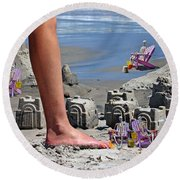 We're Moving In Round Beach Towel by Betsy Knapp