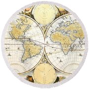 Antique World Map Round Beach Towel