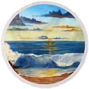Round Beach Towel featuring the painting West Coast Sunset by Lee Piper