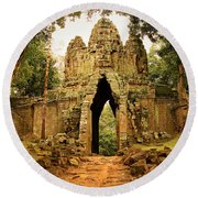 West Gate To Angkor Thom Round Beach Towel