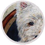 West Highland Terrier Dog Portrait Round Beach Towel