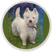 West Highland Terrier Holly Round Beach Towel