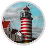 West Quoddy Head Lighthouse Round Beach Towel by Eileen Patten Oliver