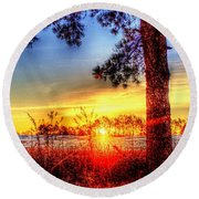 West Tennessee Sunrise Round Beach Towel