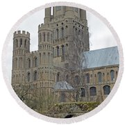West Tower Of Ely Cathedral  Round Beach Towel