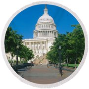 West View Of Us Capitol Building Round Beach Towel by Panoramic Images
