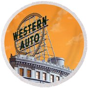 Western Auto Sign Artistic Sky Round Beach Towel