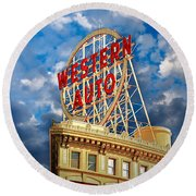 Western Auto Sign Downtown Kansas City Round Beach Towel