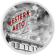 Western Auto Sign Downtown Kansas City B W Round Beach Towel