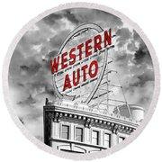 Western Auto Sign Downtown Kansas City B W Round Beach Towel