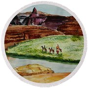 Western Canyons Round Beach Towel