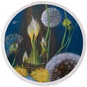 Western Goat's Beard Weed Round Beach Towel by Sharon Duguay