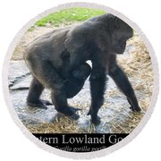 Western Lowland Gorilla With Baby Round Beach Towel