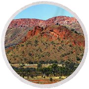 Western Macdonnell Ranges Round Beach Towel by Paul Svensen
