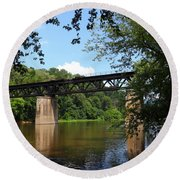 Western Maryland Railroad Crossing The Potomac River Round Beach Towel