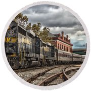 Western Maryland Scenic Railroad Round Beach Towel by Jeannette Hunt