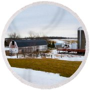 Western New York Farm As An Oil Painting Round Beach Towel