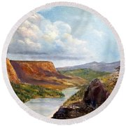 Western River Canyon Round Beach Towel