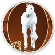 Western Roundup Standing Horse Round Beach Towel