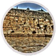 Round Beach Towel featuring the photograph Western Wall In Israel by Doc Braham