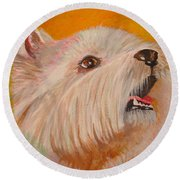 Westie Portrait Round Beach Towel