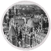 Westminster Abbey In London Round Beach Towel by Underwood Archives