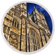 Westminster Abbey West Front Round Beach Towel by Stephen Stookey
