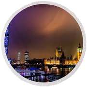 Round Beach Towel featuring the photograph Westminster And Eye Night Glow by Matt Malloy