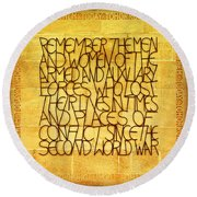 Westminster Military Memorial Round Beach Towel by Stephen Stookey