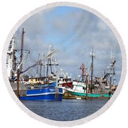 Westport Fishing Boats 2 Round Beach Towel